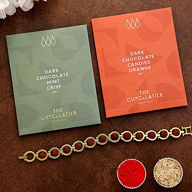 Bracelet Rudraksha Rakhi And Dark Chocolates:Letterbox Rakhi to UK
