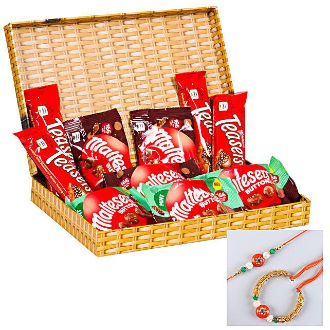Orange Lumba Rakhi Set And Assorted Maltesers Box