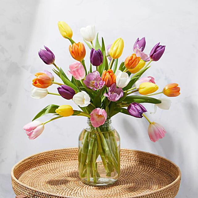 Vibrant Mixed Tulips Vase Arrangement