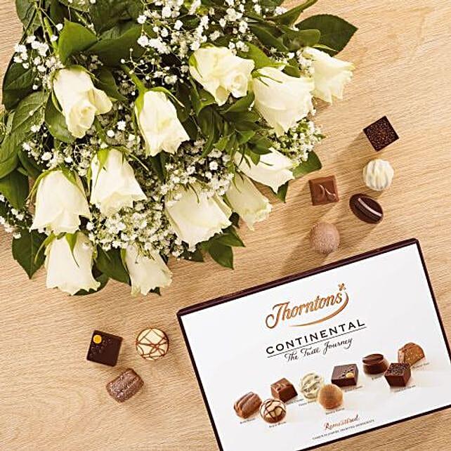 White Love Affair Combo:Send Flower Bouquet to UK