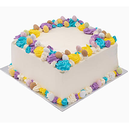 Yummy Easter Eggs Topped Vanilla Cake
