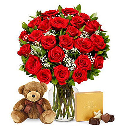 24 Red Roses Bouquet With Chocolates And Teddy:Birthday Gifts to USA