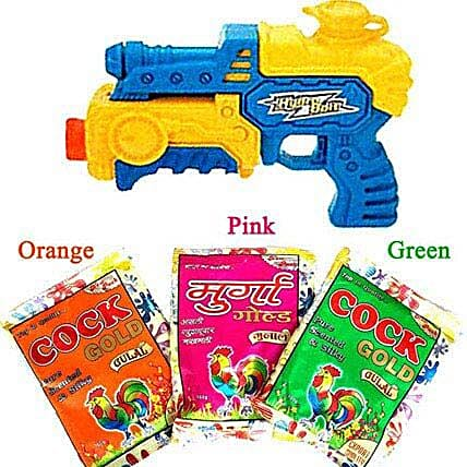3 Shades of Gulal with Water Gun