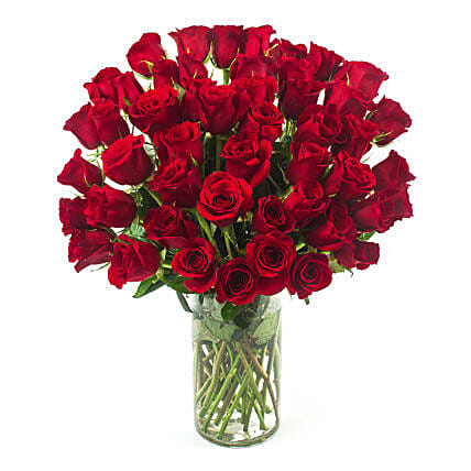 50 Red Roses:Send Anniversary Flowers to USA