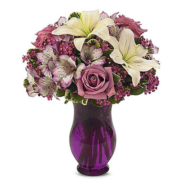 Alluring Mixed Flowers Vase Arrangement