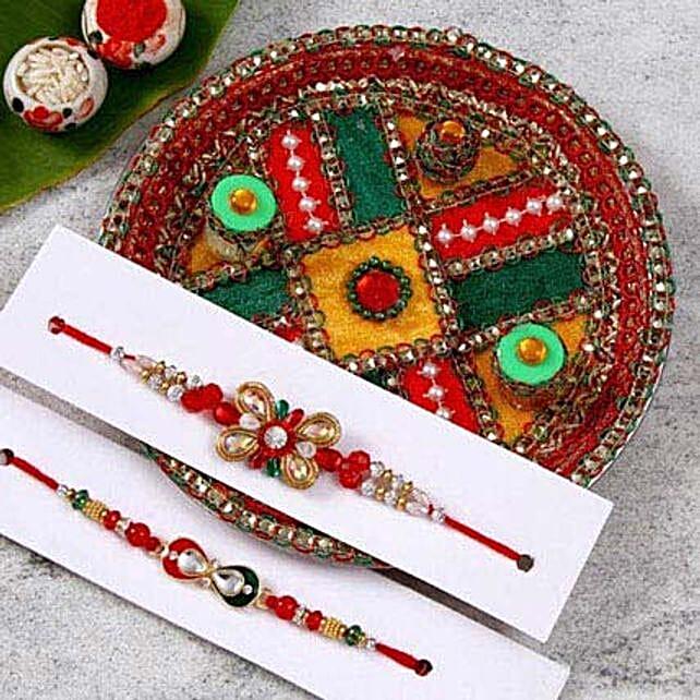 Alluring Rakhi Set With Puja Thali