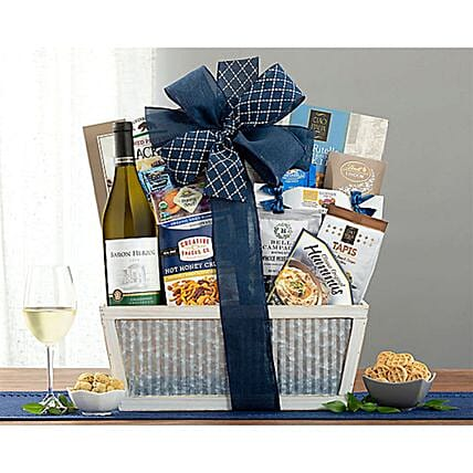 Baron Herzog Chardonnay Kosher Wine Gift Basket:Send Anniversary Gifts to USA