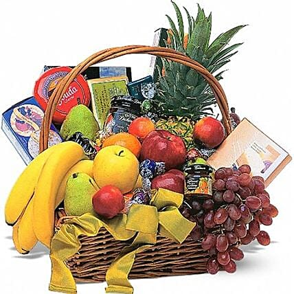 Basket Of Fresh Fruits And Gourmet