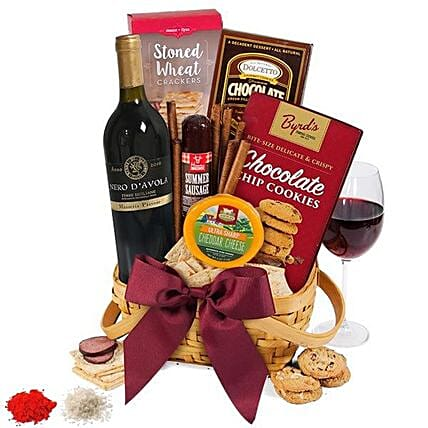 Basket Of Happiness And Red Wine