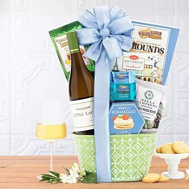 Basket Of Snacks And Wine Treats
