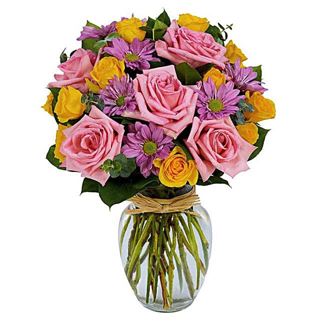 Beautiful Rose And Daisies Vase Arrangement