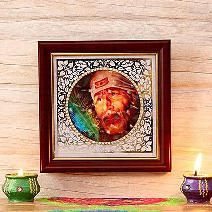 Beautiful Sai Baba Wooden Frame