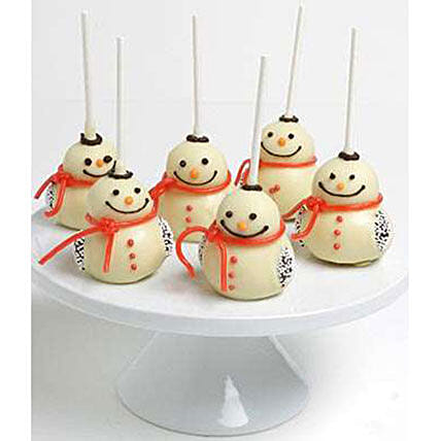 Belgian Chocolate Dipped Cake Pops Snowmen Edition