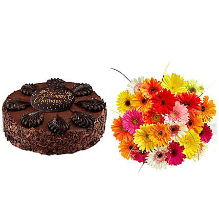 Happy Birthday Cake and Gerbera Daisies:Send Anniversary Flowers to USA