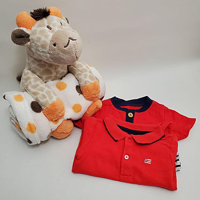 Blanket And 2 Half Sleeves Bodysuits Baby Boy Gift Set