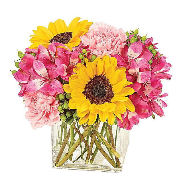 Blissful Assorted Flowers Glass Vase Arrangement:Flower Delivery USA