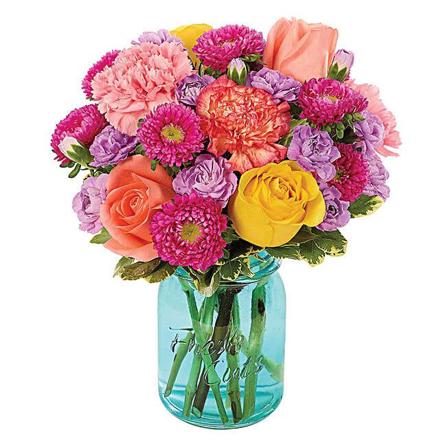 Blooming Assorted Flowers Jar Arrangement