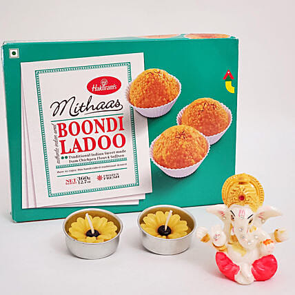 Boondi Laddu With Lord Ganesha Idol