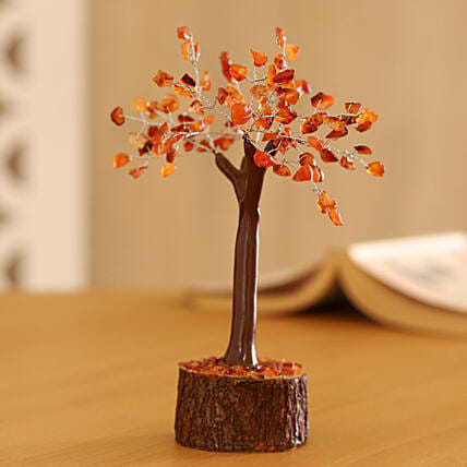 Carnelian Gemstone Wishing Tree 7 Inch