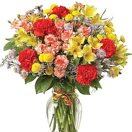 Celebration With Colourful Carnations:Gifts to USA Same Day Delivery