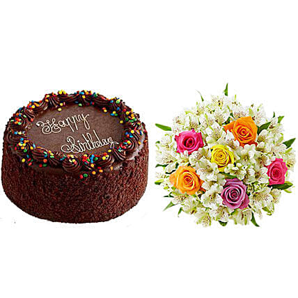 Chocolate Cake with Assorted Rose & Peruvian Lily Bouquet Birthday