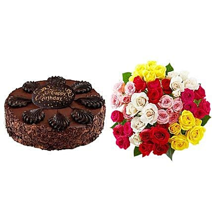 Chocolate Cake with Assorted Roses Birthday:Send Roses to USA