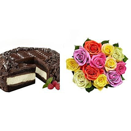 Chocolate Cheesecake and Colorful Roses Birthday:Send Roses to USA