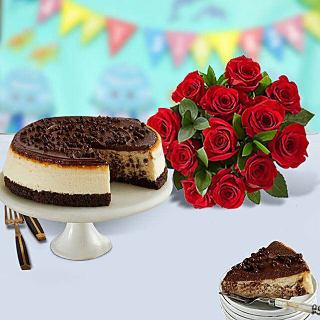 Chocolate Cheesecake and Roses:Send Karwa Chauth Gifts to USA