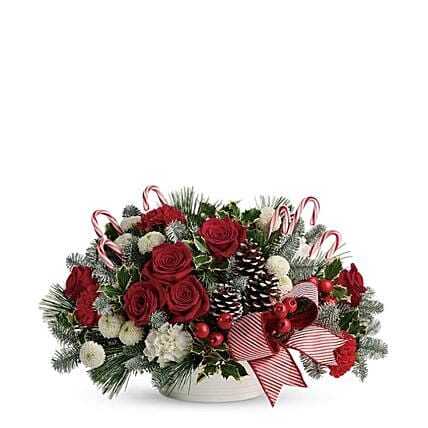 Christmas Candy Canes And Roses Arrangement