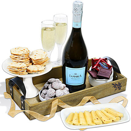 Classy Wine And Snacks Hamper:Gift Baskets USA