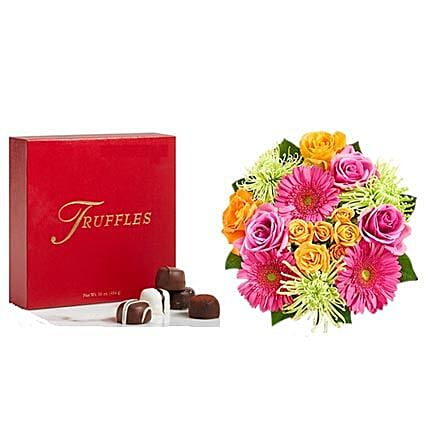 Colorful Bloom with Chocolates:Flowers and Chocolates Delivery in USA