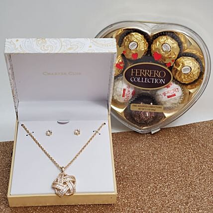Crystal Jewelry And Chocolate Gift Set