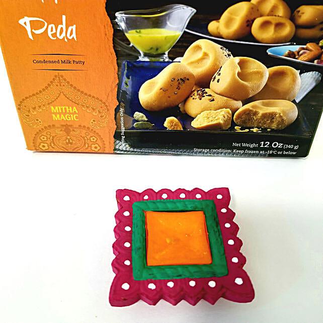 Designer Diyas & Peda Diwali Combo