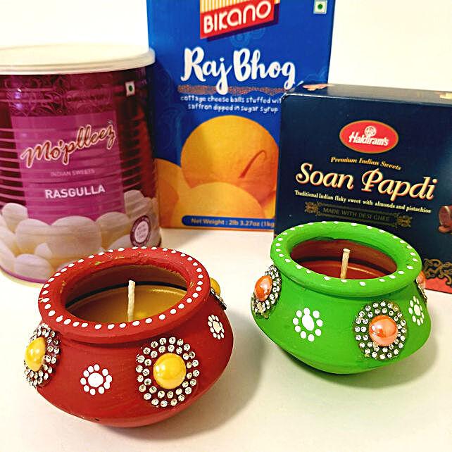 Diwali Hamper of Diyas & Sweets
