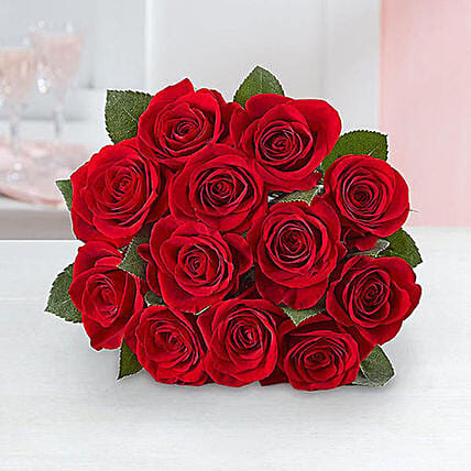 Dozen Roses For Valentines:Same Day Anniversary Flowers for USA