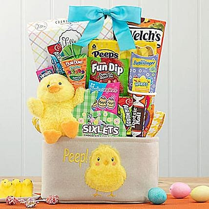 Easter Chick and Peeps Gift Basket