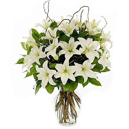 Easter Special Serene White Lilies Arrangement