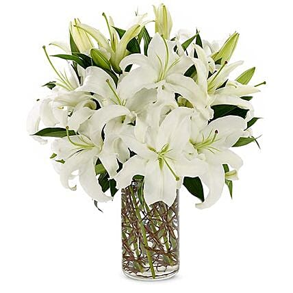 Easter Special White Lilies Vase Arrangement:Send Lilies to USA