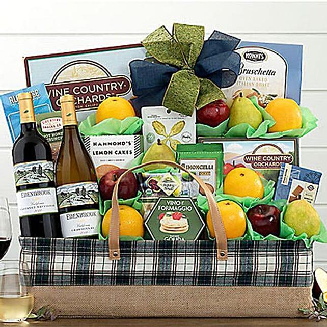 Edenbrook Vineyards Wine and Fruit Gift Basket