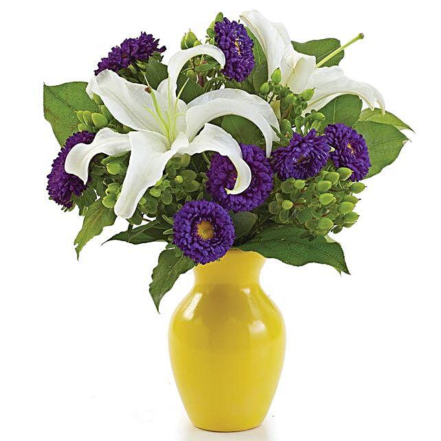 Elegant Assorted Flowers Yellow Vase Arrangement