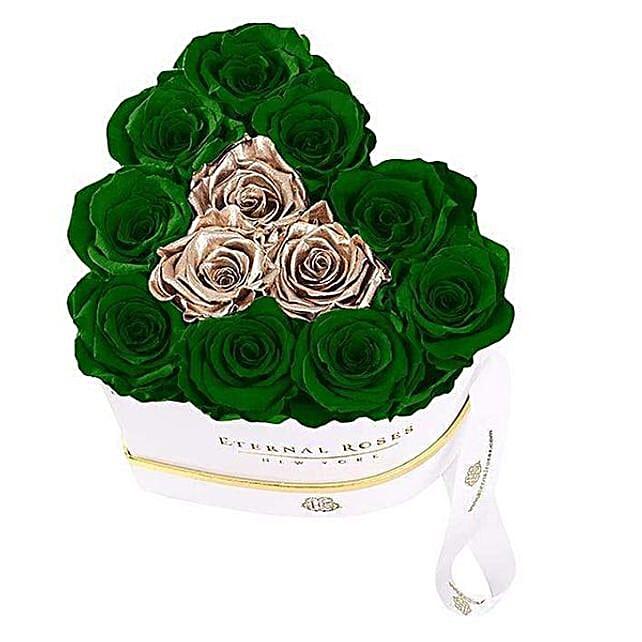 Emerald And Gold Eternal Rose Arrangement