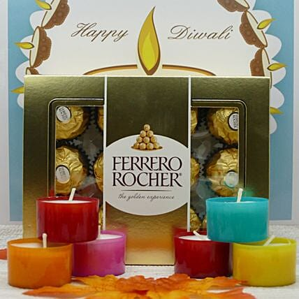 Ferrero Rocher And Scented Candles Combo:Send Diwali Chocolates to USA