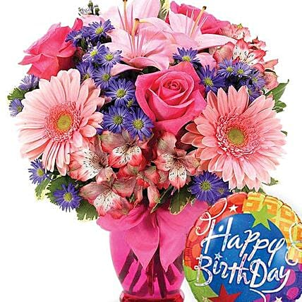 Gerbera Daisy Birthday Celebration:Mixed Flowers in USA