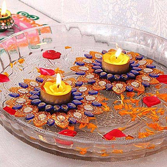 Glittering Floating Diya Set