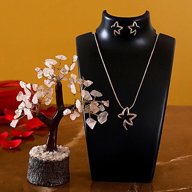 Gold Pendant Set And Wish Tree:Send Jewellery to USA