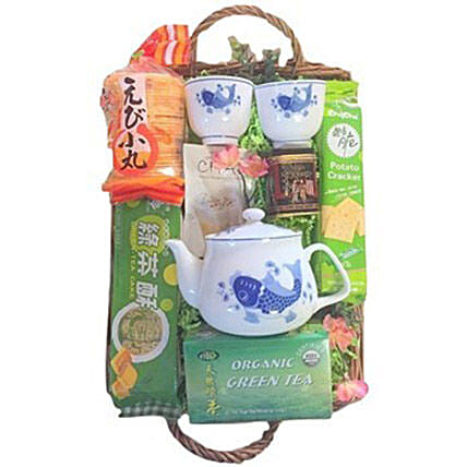 Green Tea Basket:Chinese New Year Gift Delivery in USA