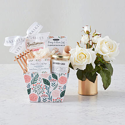 Happy Mothers Day Audrey Faux Flowers And Spa Hamper