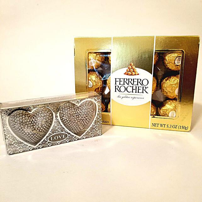Heart Shaped Diyas & Ferrero Rocher Combo