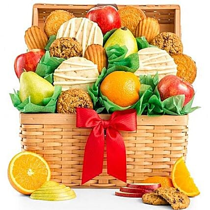 Juicy Fruits And Cookies Basket:Jewish New Year Gifts