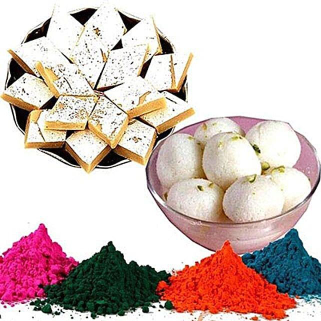 Kaju Barfi with Rasgulla and Holi Colors